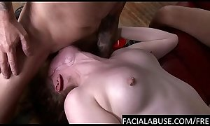 Throat bulging an 18 year old cunt