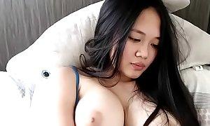 Super horny and big tits Asian cum on cam show