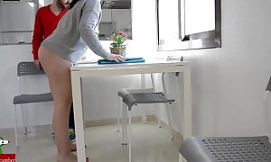 Hot pair fucking in the kitchen whilst playing on it iv