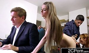 Sneaky slim bastard bonks boss's white women and dau...