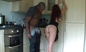 Cheating black brown screwed in kitchen by her blac...