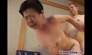 Japanese grandma giving a great oral-sex job sex job