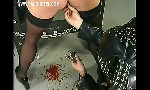 Slave got her fur pie lips spread with large meta...