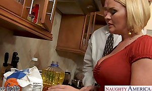 Chesty BBC slut krissy lynn slurping cum in the kitchen